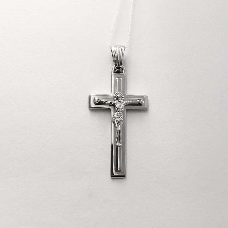 Серебряный нательный крестик с Распятием (250001)