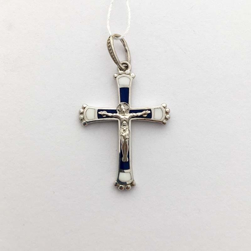 Серебряный нательный крестик с Распятием (250065А)
