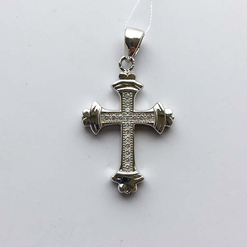 Серебряный нательный крестик (430402)