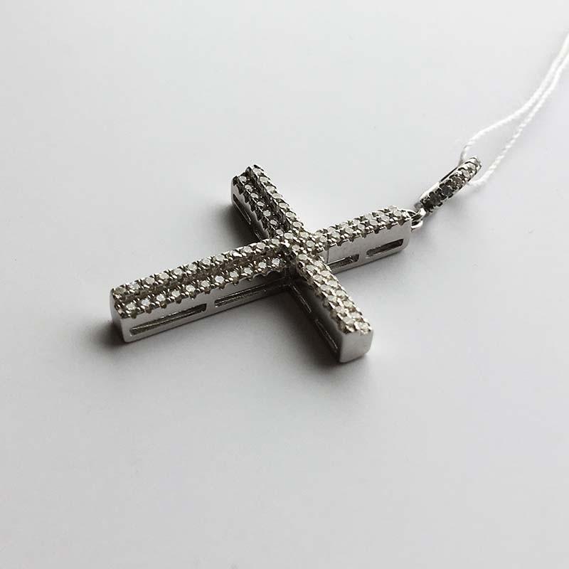 Серебряный нательный крестик (430446)