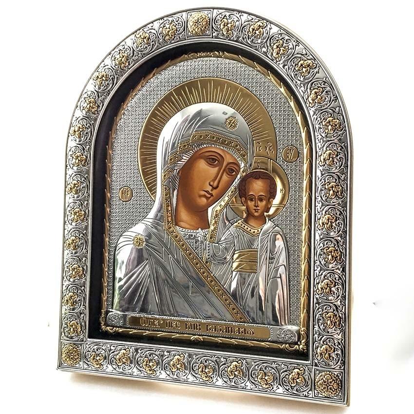 """Икона Божией Матери """"Казанская"""" (26см х21 см) производитель Silver Axion (Afon Silver) Греция. Высота иконы 260 мм, ширина 210 мм. Покрыта серебром."""