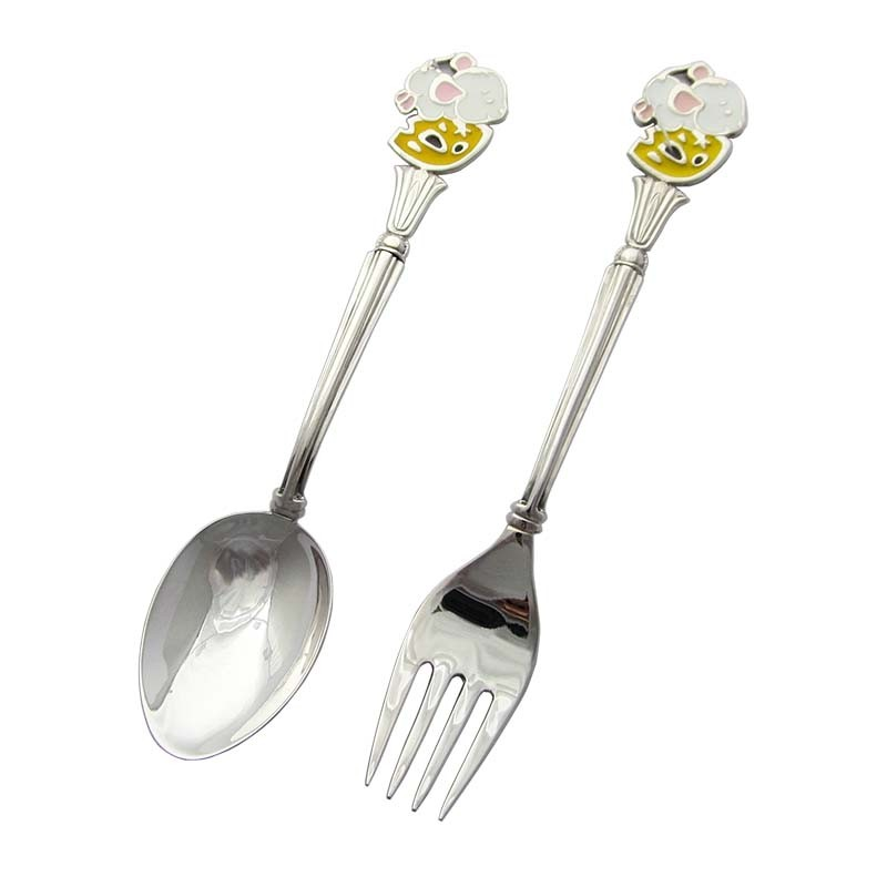 Набор детских серебряных приборов «Мышка»
