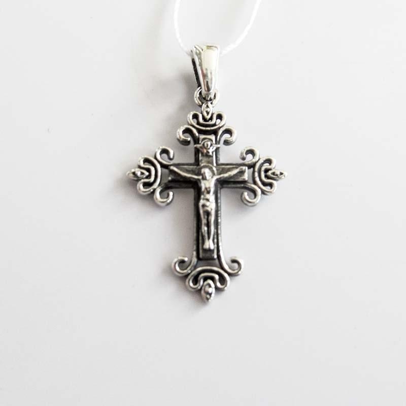 Серебряный крест нательный с Распятием (Р-7581-Ag)