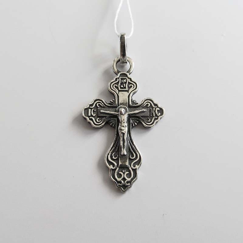 Серебряный крест нательный с Распятием (Р-7582-Ag)