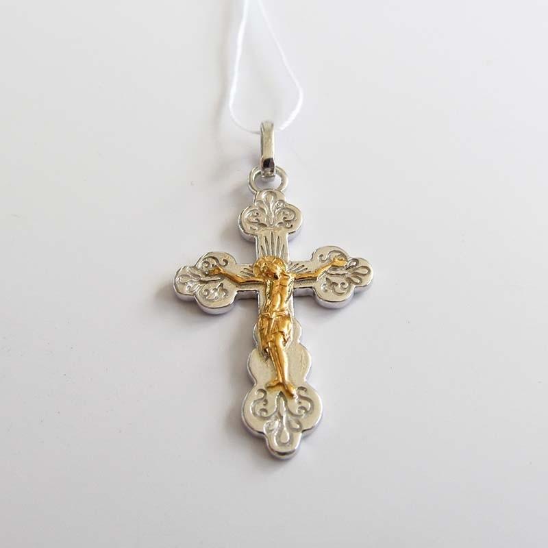 Серебряный крест нательный (Р-7583-Ag)