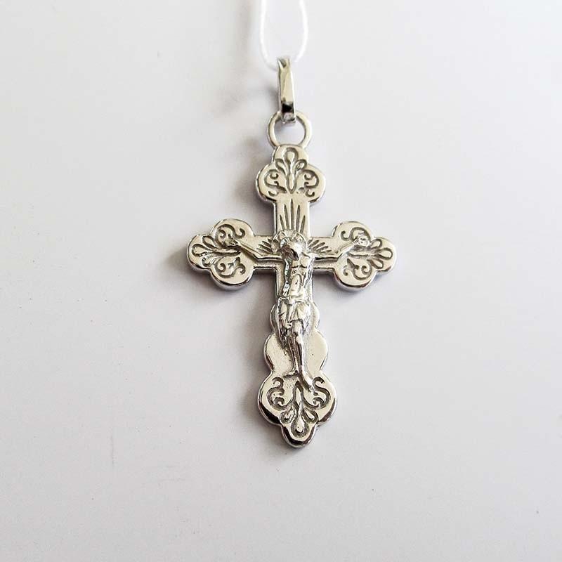 Серебряный крест нательный (Р-7584-Ag)