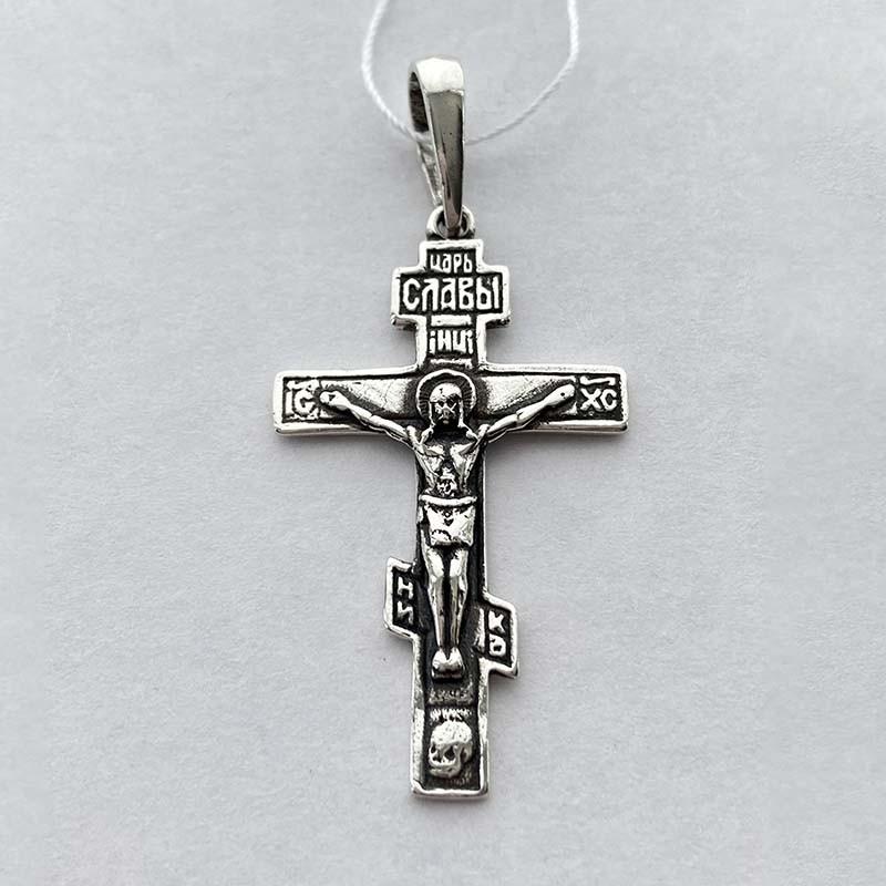 Серебряный нательный крест с Распятием (po295vr)