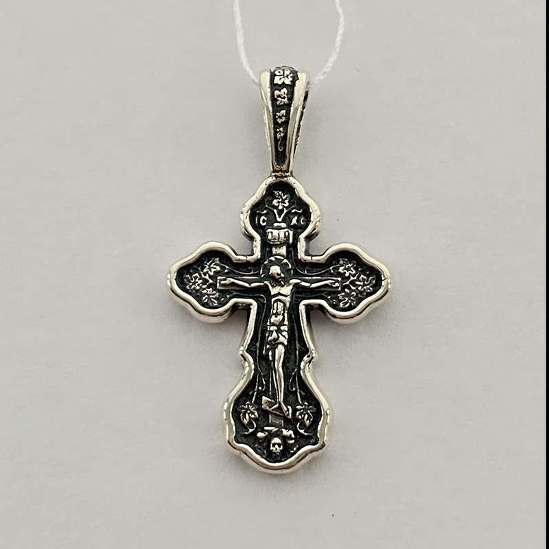 Серебряный нательный крест с Распятием (po466vr)
