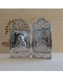 Икона Богородица Владимирская и Господь Вседержитель, складная серебряная икона.