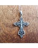Серебряный крест нательный с Распятием (Р-7590-Ag)