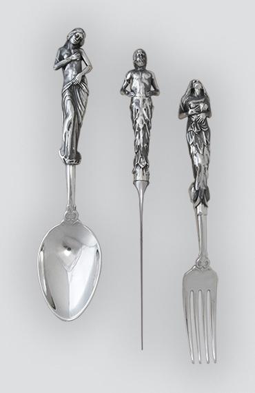 Набор столовых серебряных приборов Нимфы